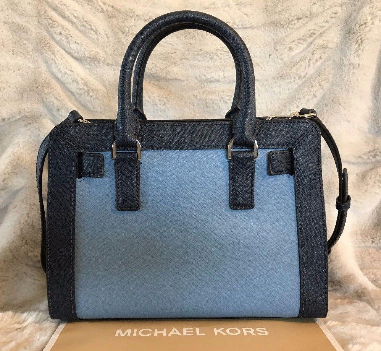 6afceefa4032 57d8d b13cd; discount code for michael kors mk dillon small monogram brown  crossbody strap satchel in blue navy