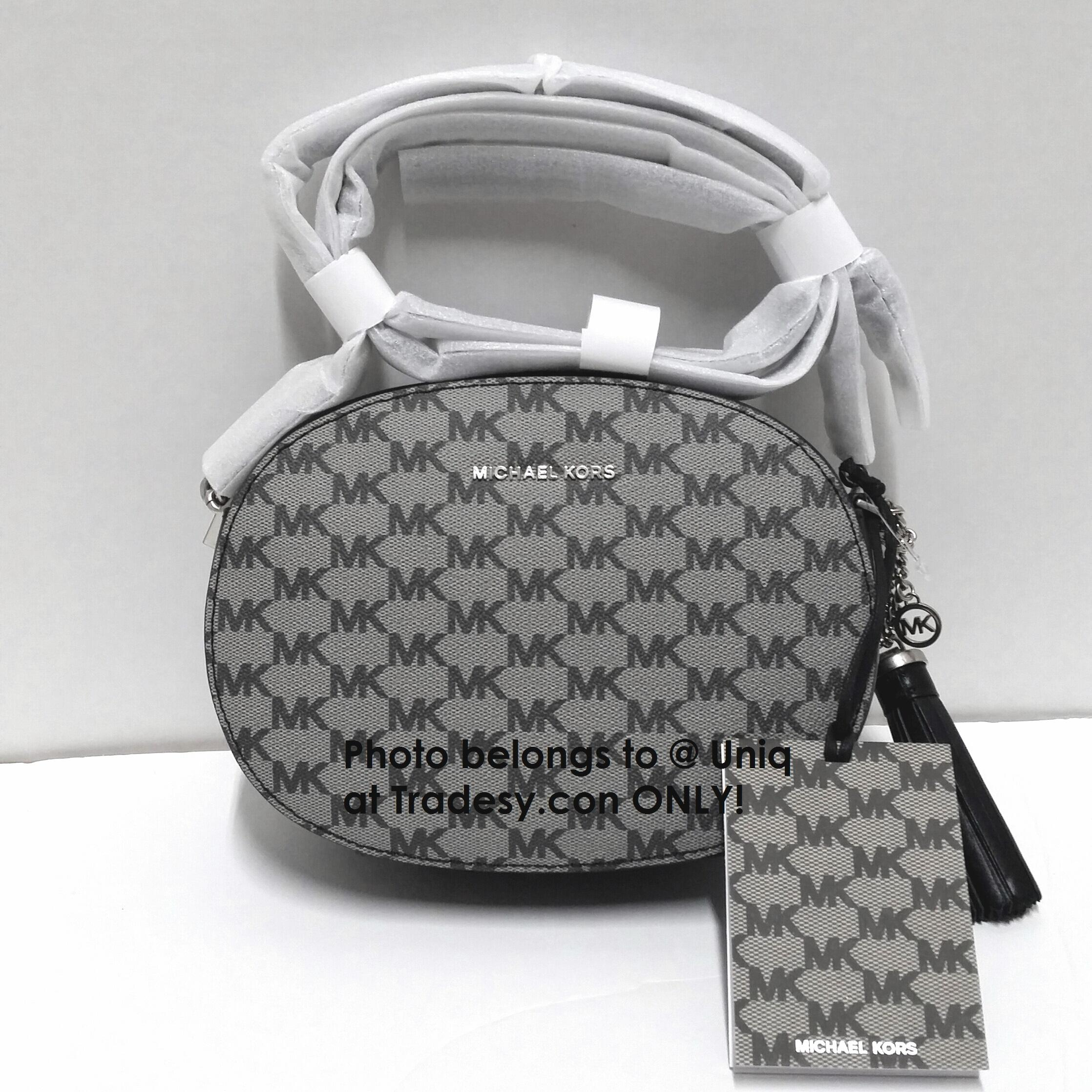 e04319e449b9be ... sale michael kors logo signature mk shoulder clutch black grey white leather  cross body bag tradesy ...