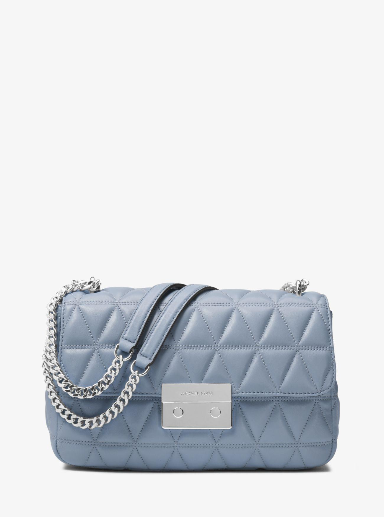 Michael Kors Pale Blue Leather Sloan Large Quilted-leather Shoulder Bag - Tradesy