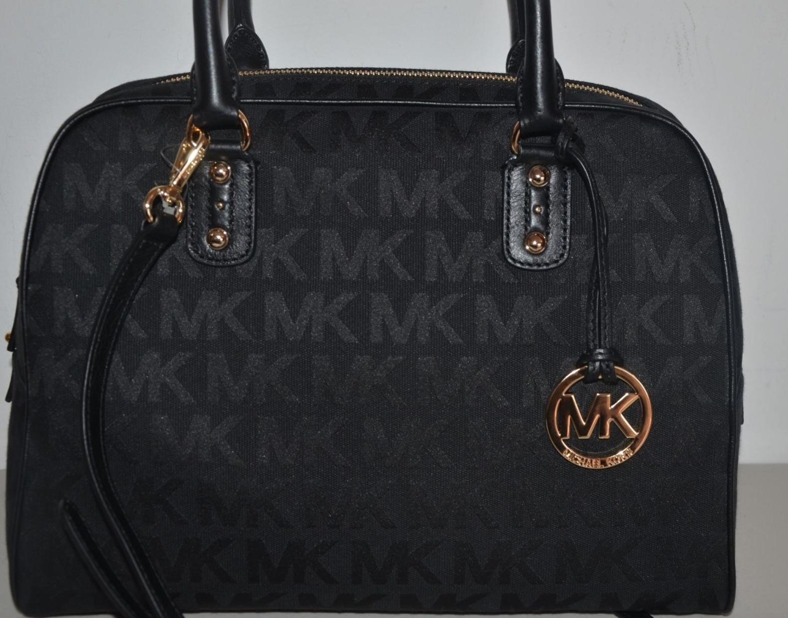 81535e9e5093 ... clearance michael kors mk signature shoulder purse tote black jacquard  leather satchel tradesy 9a17f b67e8