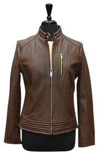 Michael Kors I0 Kors Soft Leather Zip Front Moto Motorcycle Jacket