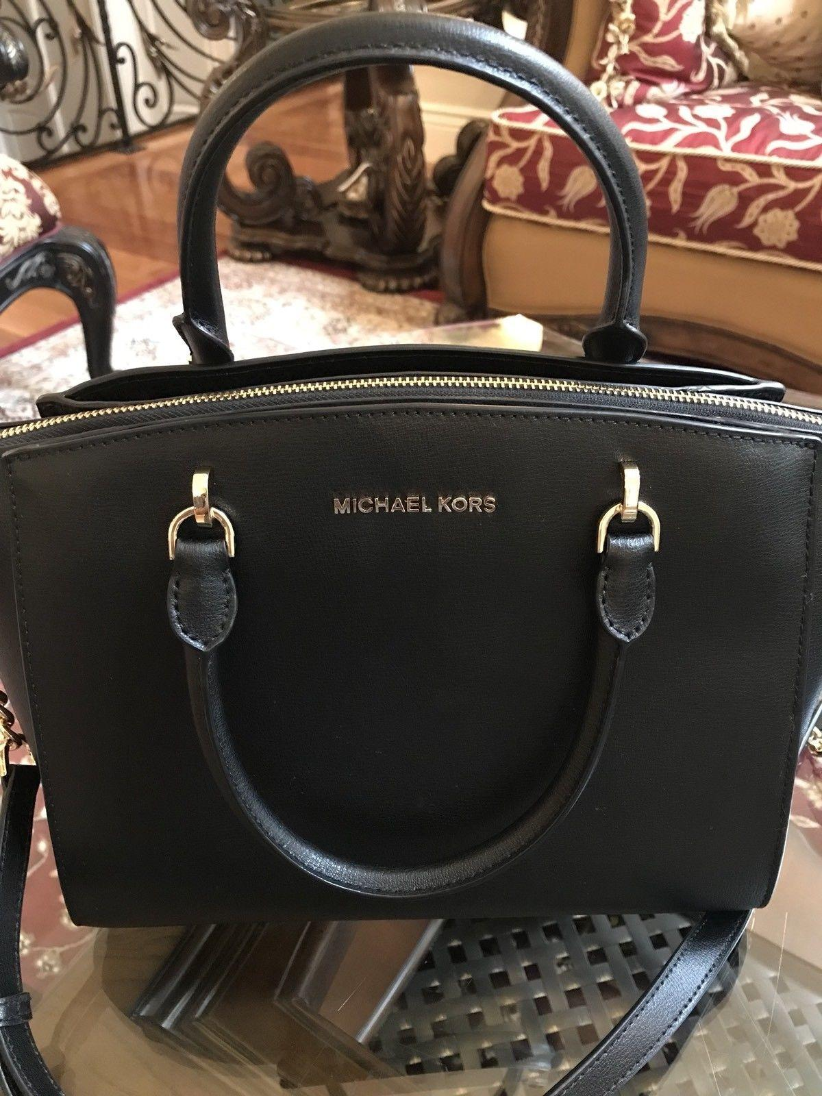 09d884b75d2e ... cheap michael kors ellis large saffiano leather crossbody strap satchel  in black. 123456789101112 2088e 79146