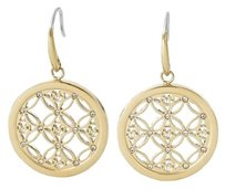 Michael Kors NWT Gold-tone Open Monogram Small Disc Circle Drop Earrings MKJ4278710