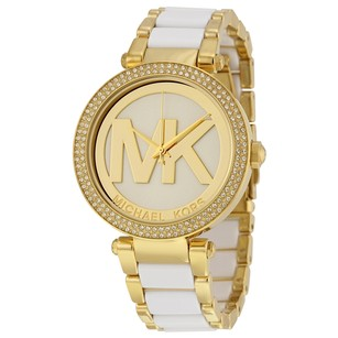 Michael Kors Parker Gold-Tone and White Acetate Ladies Watch MK6313