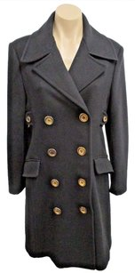 Michael Kors Italy Wool Double Breasted Pea W Brass Buttons Pea Coat