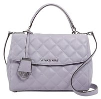 Michael Kors Quilted Leather Silver Satchel in Lilac