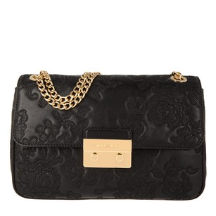 Michael Kors Rare Chain Woven Chain Lace-embroidered Lambskin Shoulder Bag