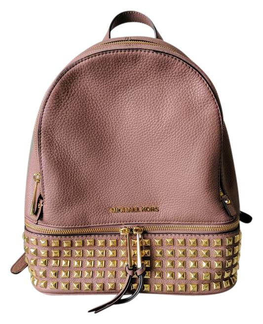 6513ef41d34b ... ireland michael kors rhea medium studded dusty rose gold leather  backpack tradesy f1be4 c543a
