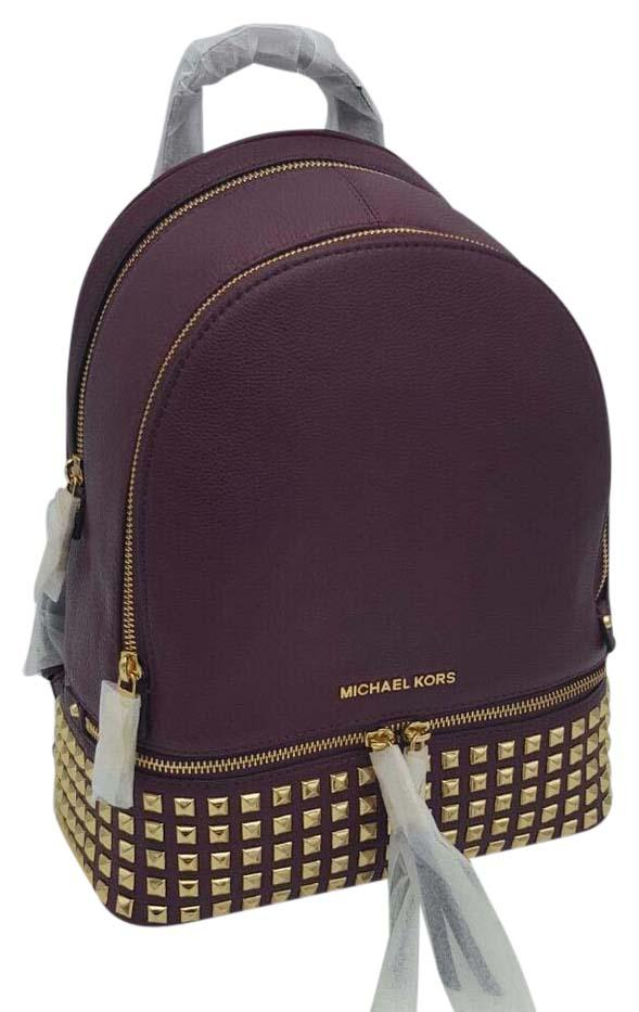 8e7b1c2b0ba4e ... sale michael kors rhea zip medium pyr stud plum leather backpack tradesy  a5cd6 00d09