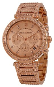Michael Kors Rose Gold Crystal Pave Allover Luxury Ladies Dress Watch