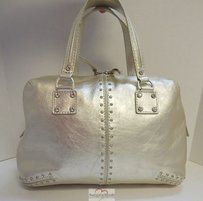 Michael Kors Astor Leather Rhinestone Satchel in Gold