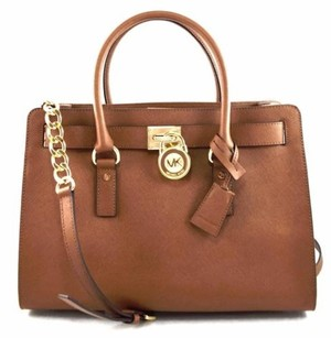 Michael Kors Leather Hamilton Satchel in Gray