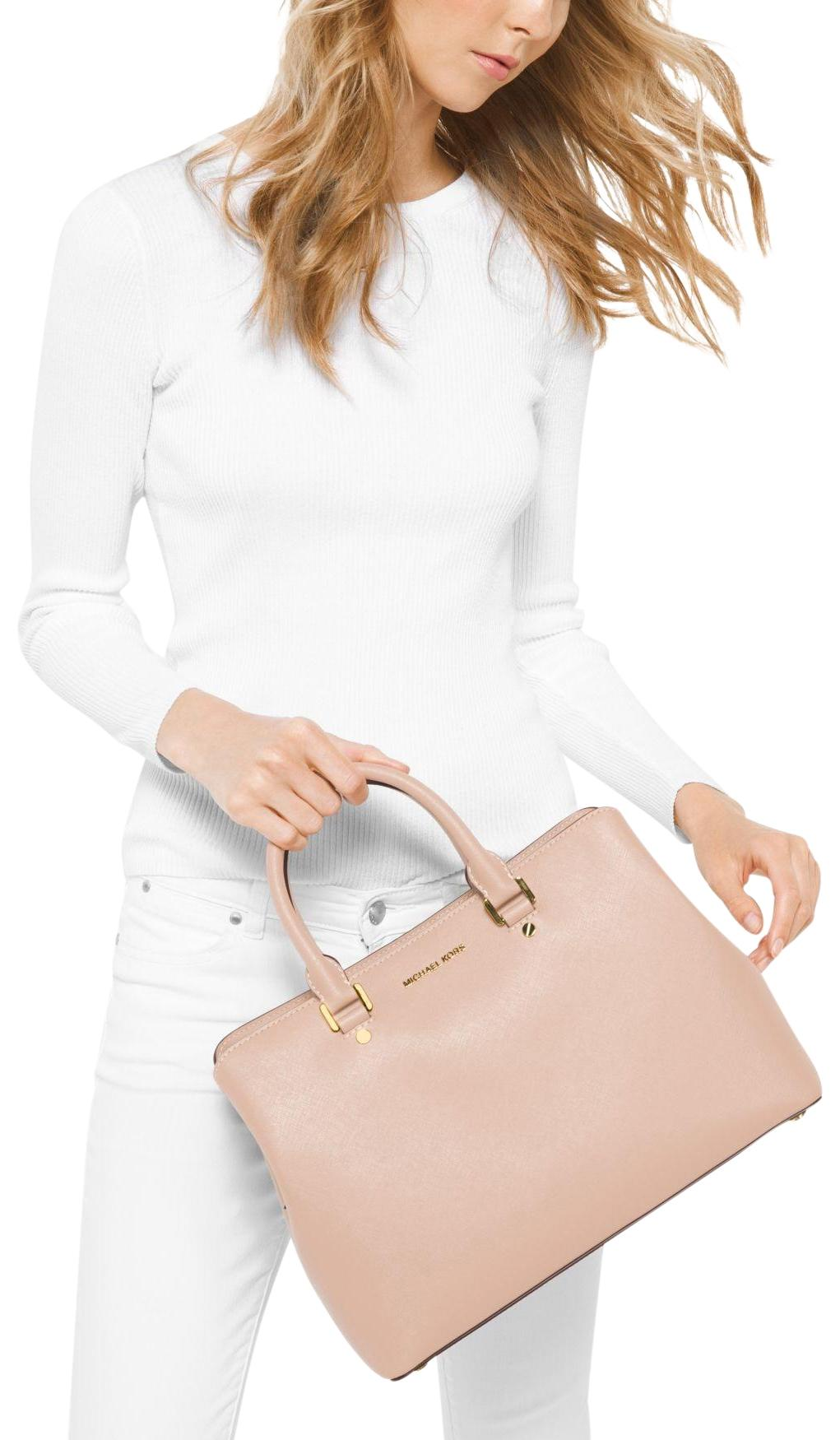 9ba988702638 ... handbag satchel shoulder 8b2d7 2d18e  cheap michael kors leather  satchel in soft pink e665d ec853