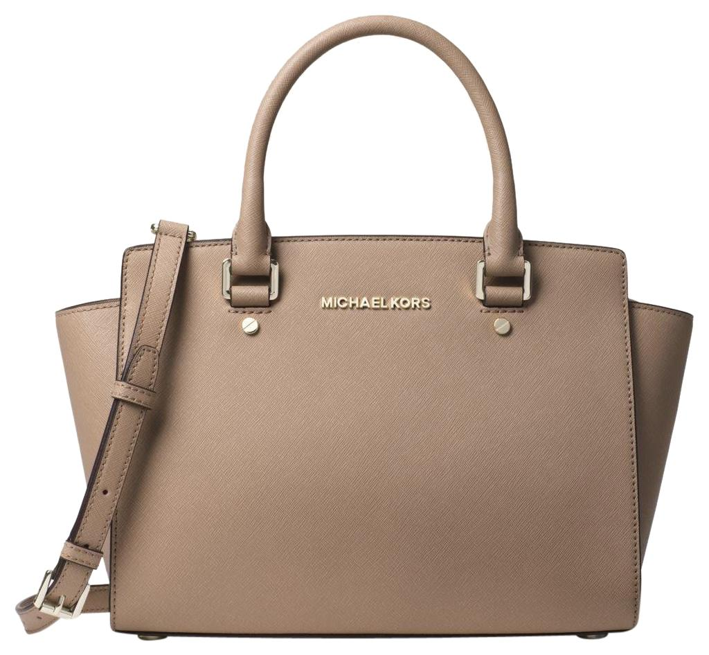 685726e90282 authentic michael kors large selma satchel bag pearl grey 84d19 ad5b0;  australia michael kors leather satchel in truffle 0cdf5 6d57d