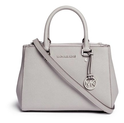 5c1f9ad03547 ... bag blossom womens 7bd3f bbe0d  reduced michael kors leather satchel in  grey e2e48 9f9d1