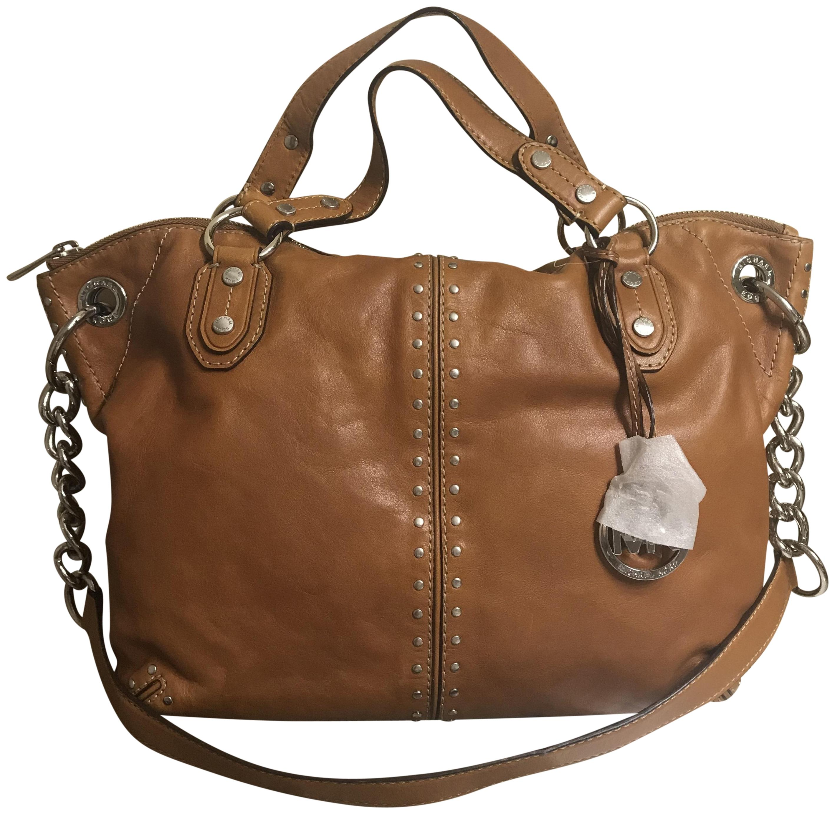 c70d880d7a7b68 new style michael kors stud studs large shoulder satchel tote in luggage  brown silver 0e402 bf73a