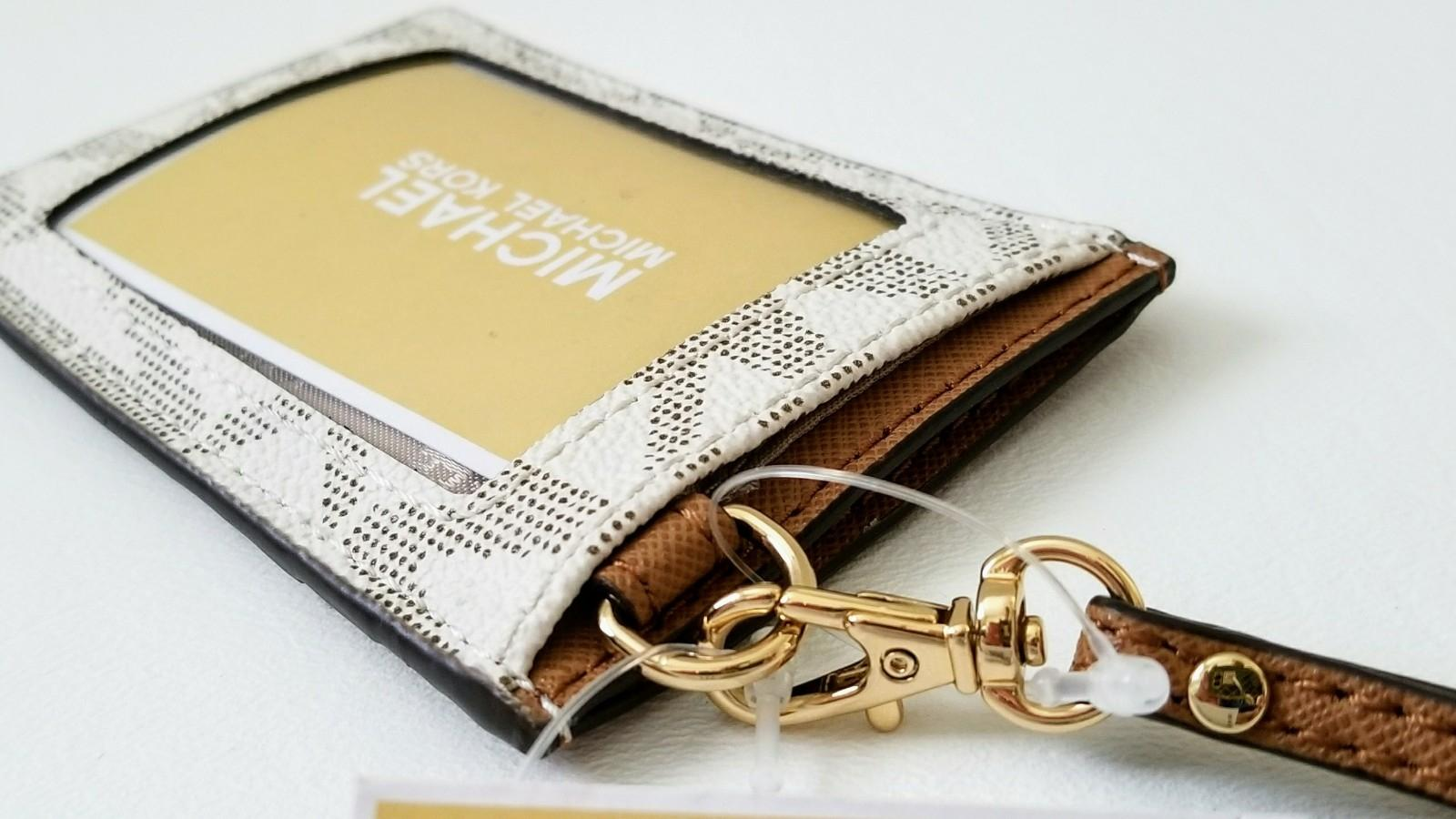 michael kors vanilla acorn new logo employee tag id holder card case lanyard badge wallet