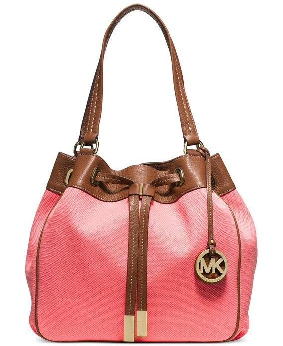 Michael Kors Marina Large Drawstring Leather Tote in Coral / Luggage ...