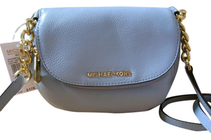 c3e086f7e89b Michael Kors Bedford Leather Flap Messenger Nwt Pale Blue Cross Body Bag  new ...