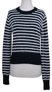 MICHAEL Michael Kors Womens White Striped Crew Cotton Shirt Sweater