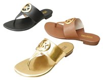 MICHAEL Michael Kors Gold Brown Thong Luggage Sandals