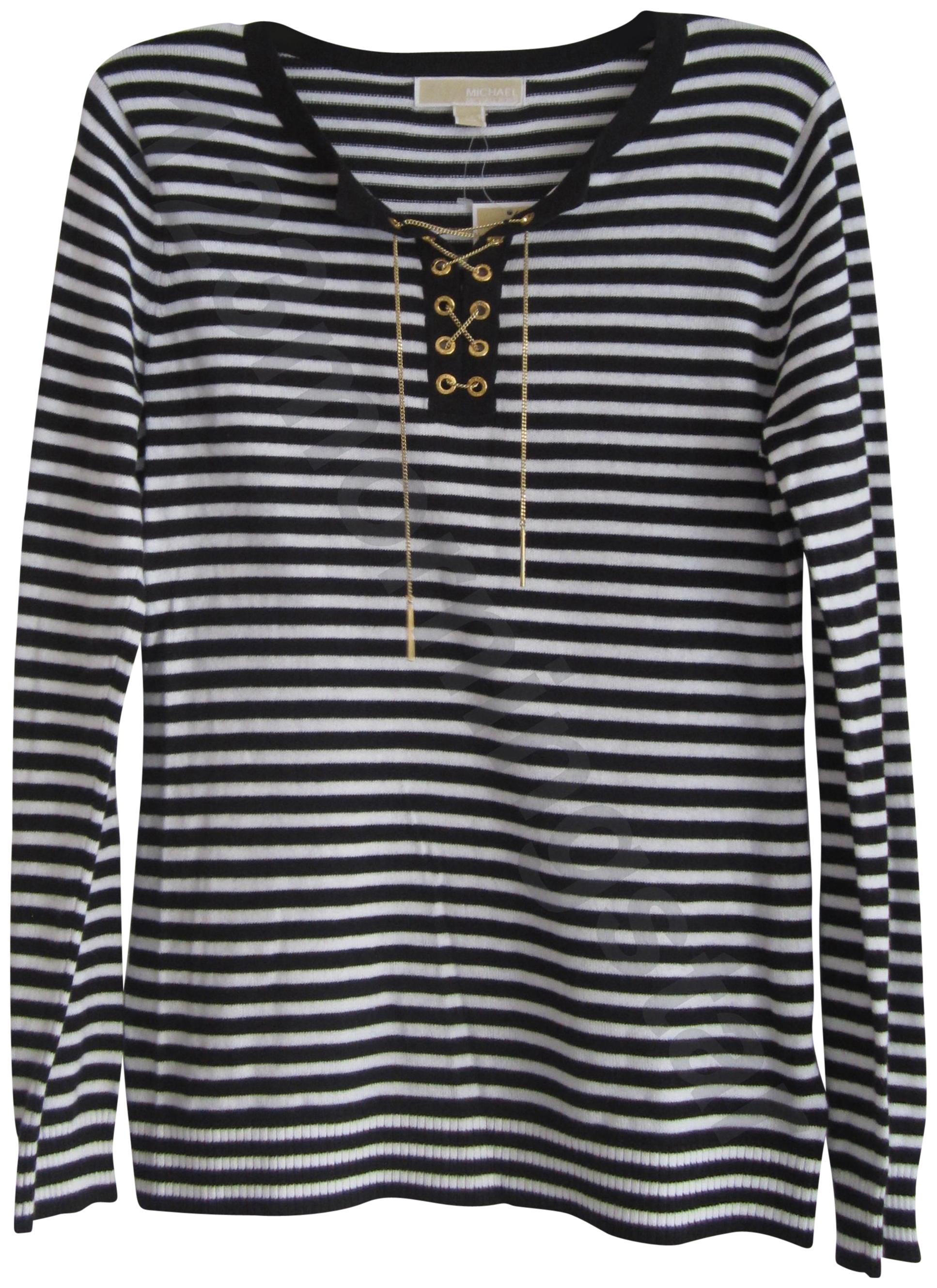 MICHAEL Michael Kors Chain Lace-up Split Neck Grommets Striped/Solid Print  Gold Hardware ...