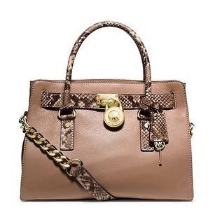 MICHAEL Michael Kors Hamilton Snake Embossed East West Tote Satchel in Dark Khaki