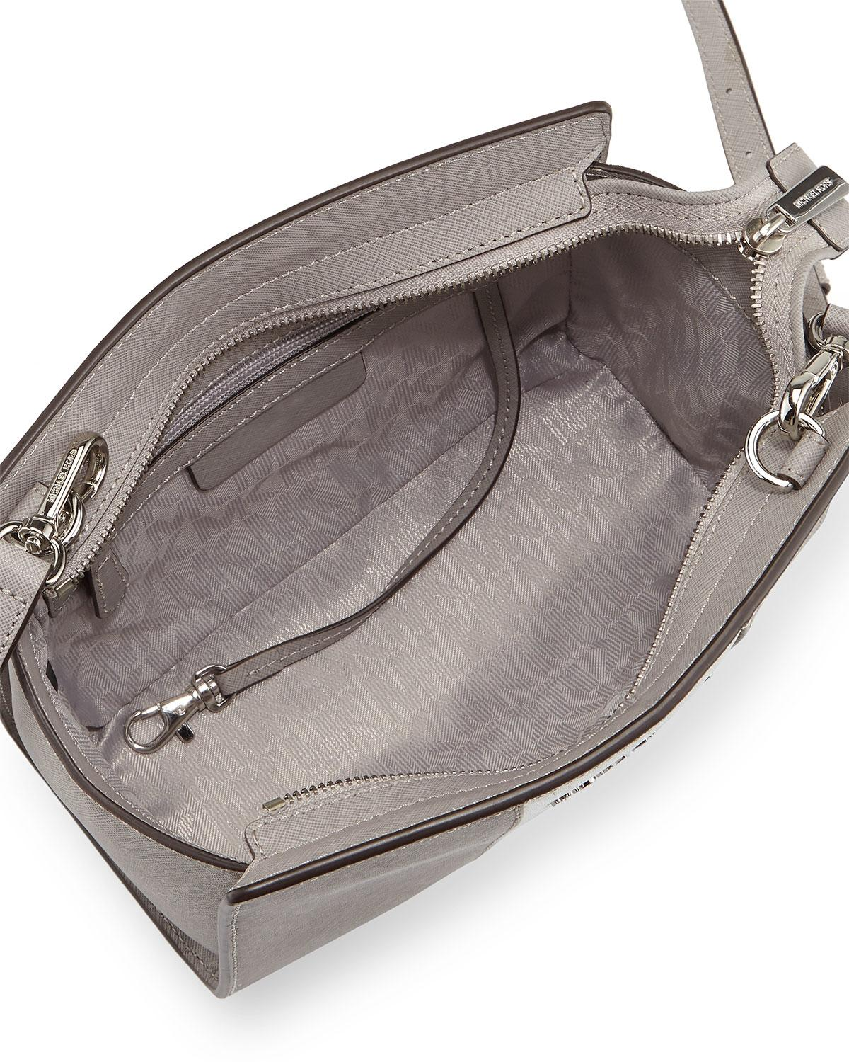 ac9cafecf052 ... real michael michael kors selma striped saffiano leather crossbody  pearl grey silver messenger bag.