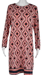 MICHAEL Michael Kors Womens Orange Geometric Below Knee Sheath Dress