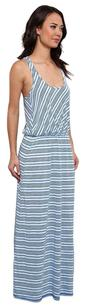 Blue Maxi Dress by Michael Stars Racer-back Sleeveless Maxi Striped