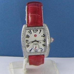 Michele Michele Mini Urban Steel Diamond Red Alligator Strap Watch Mww02a000005