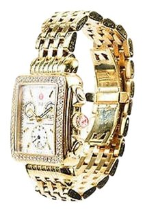 Michele Michele Yellow Gold Plated Stainless Steel Diamond Deco Chronograph Watch