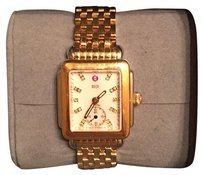 Michele Signature Deco Diamond Dial Gold Watch