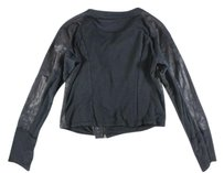 Nally & Millie Black Cropped Leather Ss Top