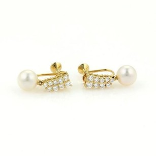 Mikimoto Mikimoto 18k Yellow Gold Diamonds Akoya Pearls Drop Dangle Earrings