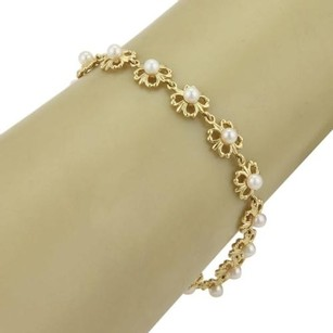 Mikimoto Mikimoto 3.5mm Akoya Pearls 18k Yellow Gold Floral Link Adjustable Bracelet