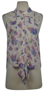 Millau Womens Floral Sleeveless Casual Shirt Cut Out Sheer Top Ivory