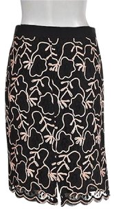 MILLY Womens Pink Textured Knee Length Skirt Black