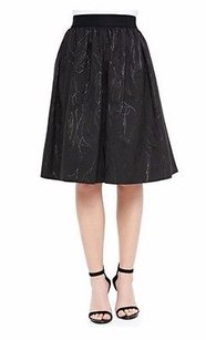 MILLY Monica Metallic Accent Soft Pleated 190599f Skirt Black