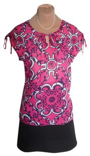 Milly of New York Pretty Like Top PINK SIGNATURE MILLY PRINT COTTON