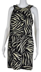 MILLY Womens Black Animal Print Textured Above Knee Sheath Dress
