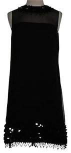 MILLY short dress Black An Womens Beaded Sleeveless Silk Blend Shift on Tradesy