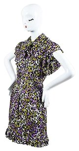 MILLY short dress Multi-Color Black Purple Green Silk on Tradesy