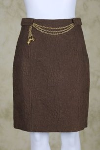 MILLY Womens Gold Skirt Brown