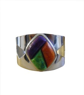 Mine Finds by Jay King Mine Finds By Jay King .925 Sterling Silver Mojave Green Turquoise, Purple Charoite and Coral Cuff Bracelet fits 7 to 7 1/2 Inch wrist