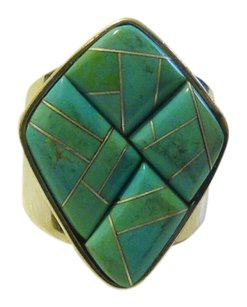 Mine Finds by Jay King Mine Finds By Jay King .925/Signed DTR Turquoise Inlay Ring Size 7.5