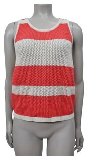 MINKPINK White Coral Striped Open Knit Sleeveless Top coral white
