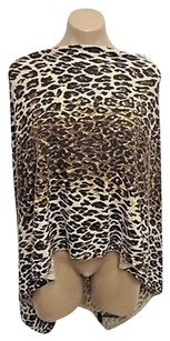 Minnie Rose Beiges Animal Print Cashmere Poncho One Sweater