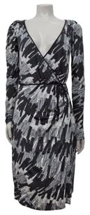 Miss Sixty Printed Faux Wrap Black Gray White Knit Long Sleeve Dress