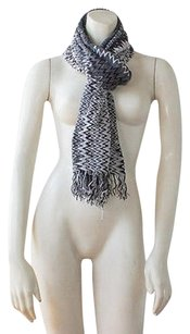Missoni Missoni Gray Black White Woven Chevron Pattern Fringed Neck Scarf Chic Hsb1